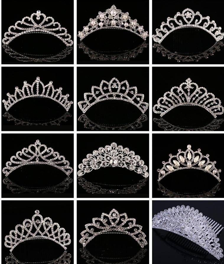 Sparkling Crystal Bridal Crown Wedding Crowns Perla strass Diademi Capelli pettini Molletta 2017 Accessori per capelli di lusso per la sposa