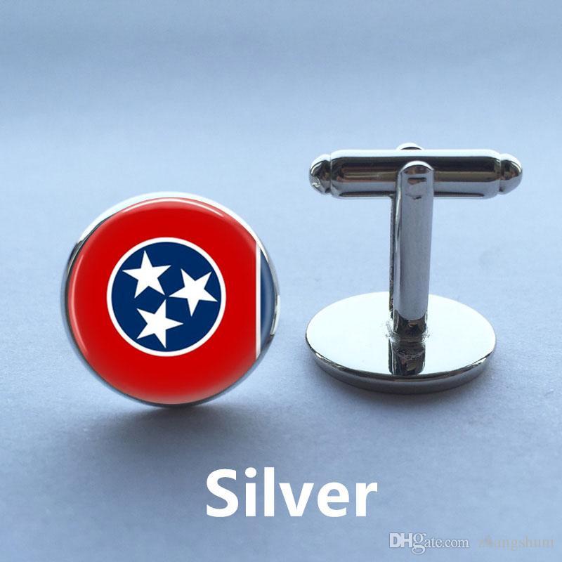 Tennessee Bandeira De Vidro Abotoaduras Tennessee Bandeira Pingente Bandeira do Estado de Prata de Prata de Alta Qualidade Camisa Abotoaduras para Homens