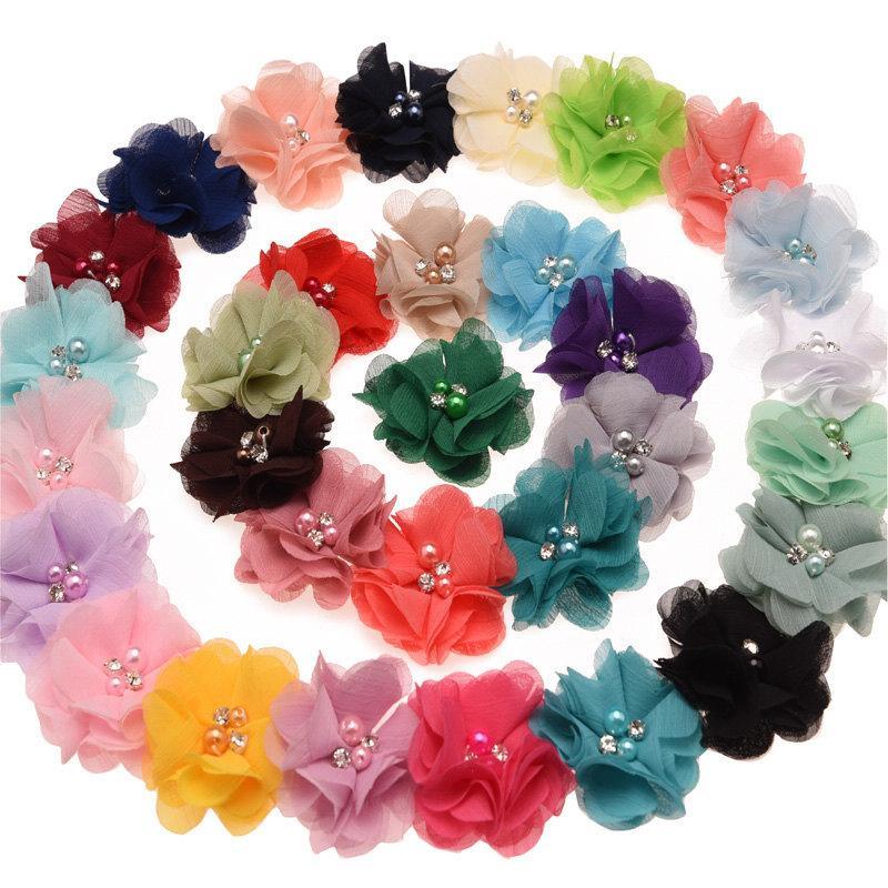 2020 Xs 6cm Pearl Crystal Chiffon Fabric Flowers Childrens
