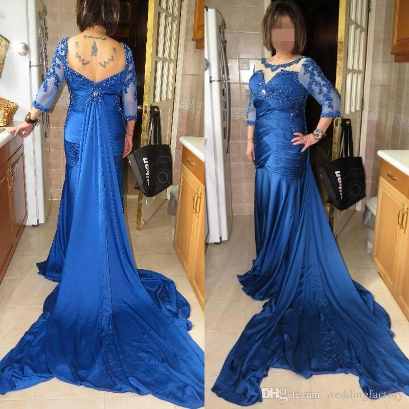 Çarpıcı Kraliyet Mavi Balo Elbise Uzun Örgün Akşam Partisi Törenlerinde Artı Boyutu Sheer Boyun Illusion Kollu Boncuk Dantel Aplikler Ayrılabilir Tren