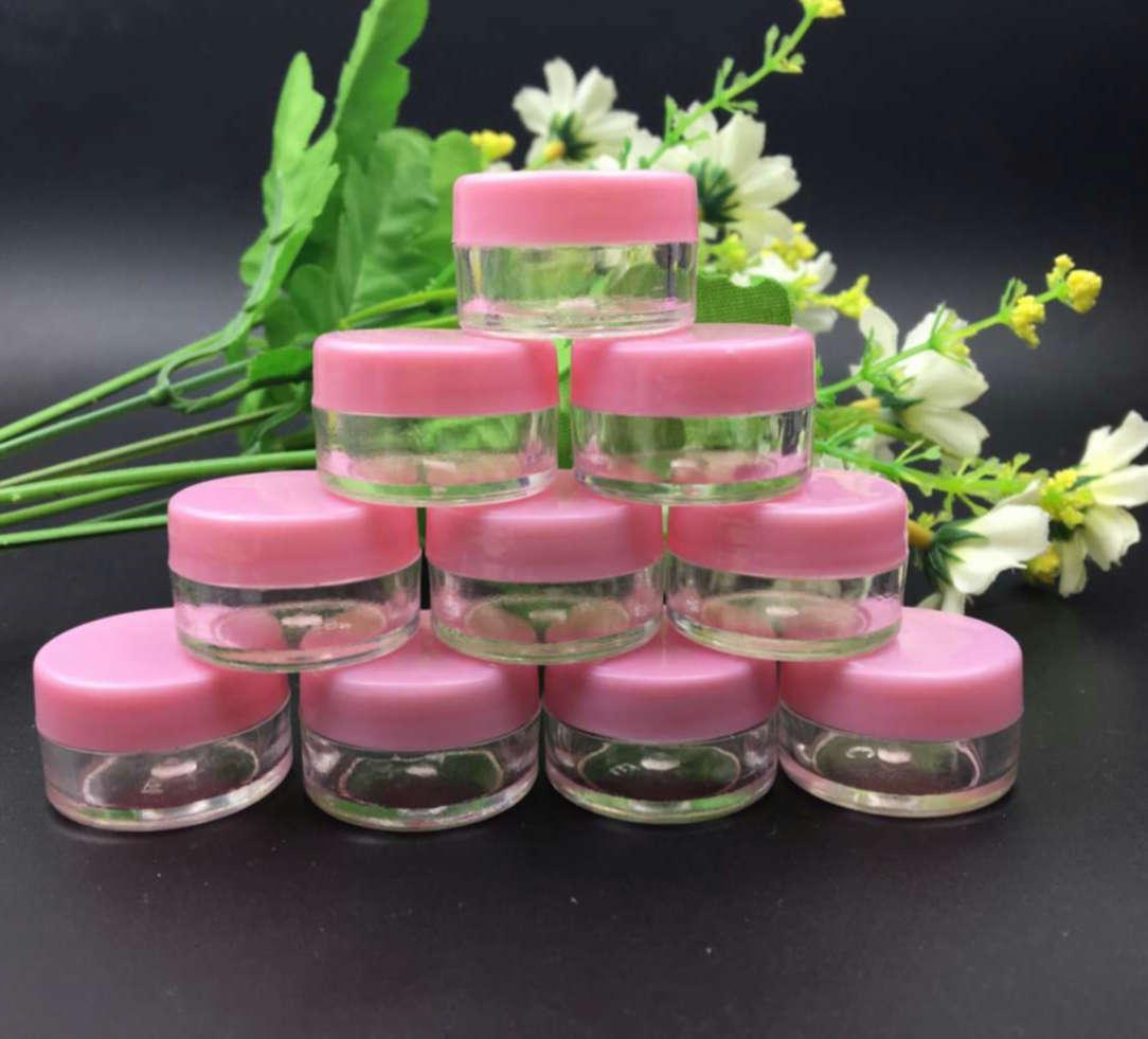 "100pcs 작은 5g 라이트 핑크 커버 화장품 샘플 컨테이너 18mm x 29mm (0.7 ""x 1.14"") 플라스틱 빈 크림 항아리 포장 병"