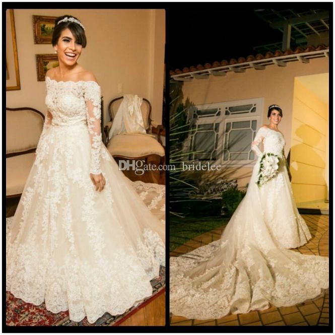 Robe de Marife Custom Carment Свадебные платья 2020 Мода с плеча свадебное платье с длинным рукавом с аппликациями Vestidos de Novia