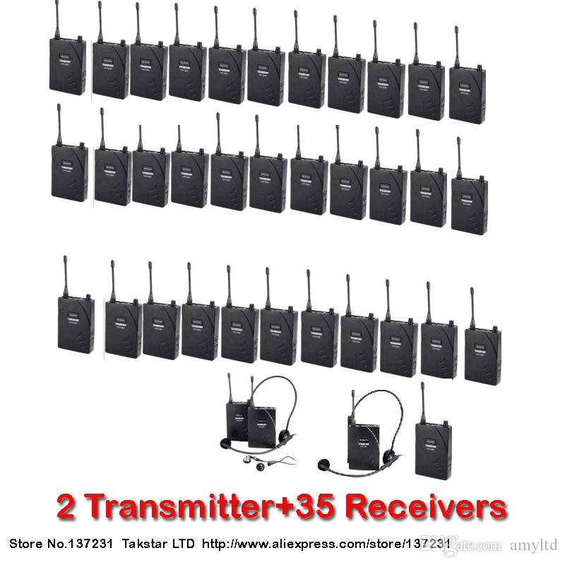 Tour guiding training Takstar UHF-938 UHF frequency Wireless Tour Guide System 50m Operating Range 2 Transmitter+35Receivers