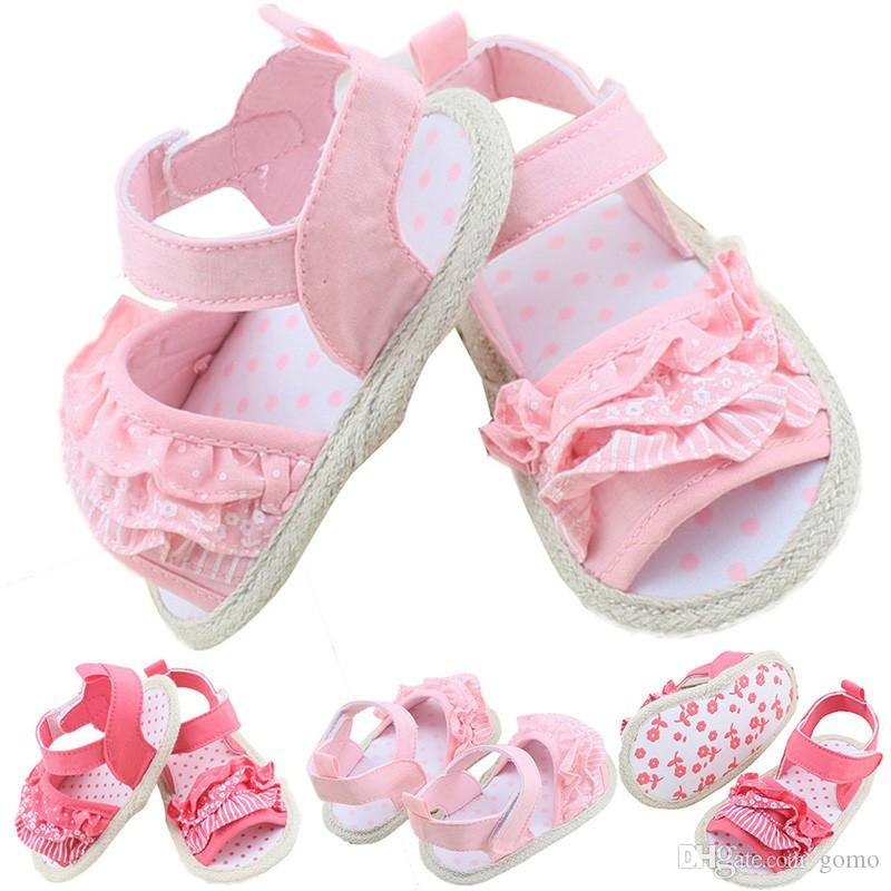 Baby Girl Shoes Lovely Newborn Toddler Baby Girl Soft Sole First Walkers Summer Lace Crib Shoes