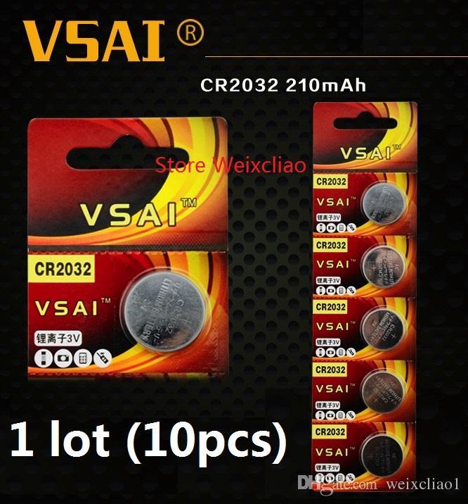 10pcs 1 lot CR2032 3V lithium pile au lithium ion bouton pile CR 2032 3 volts li-ion batteries VSAI livraison gratuite