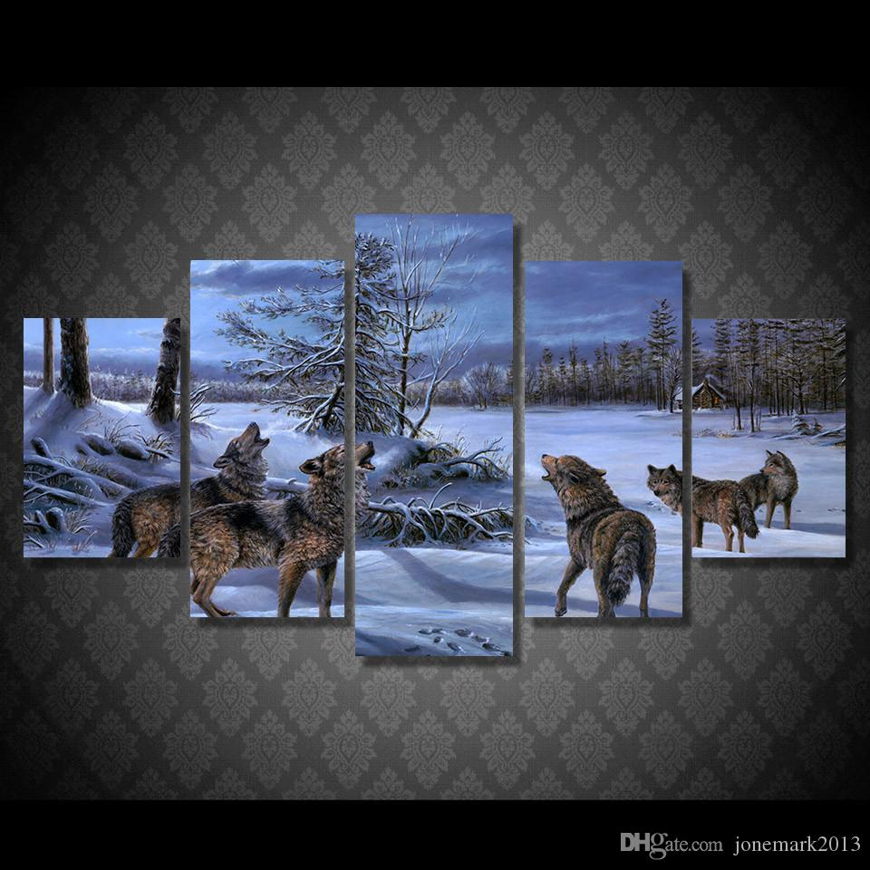 5 Pcs/Set Framed HD Printed Winter Snow Wolf Picture Wall Art Canvas Print Decor Poster Canvas Oil Painting