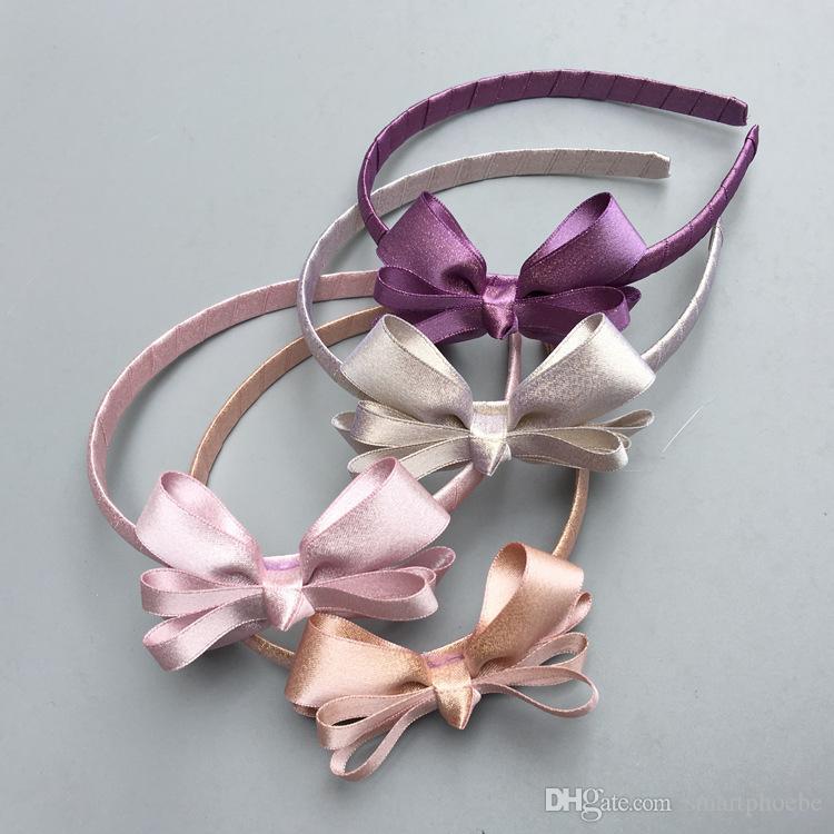 12pcs Boutique / 4C Glitter Branchées Ruban Noeud dans les cheveux de cheveux bâtonnets solides mignon bowknot Bandeaux Headware Accessoires