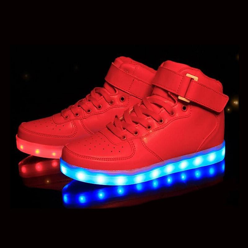 Atacado-2016 mulheres Casual homens Homme Luminous High Top Cesta Light UP Shoe Mens sapatos Led Schoenen Femme Chaussures Lumineuse para adultos