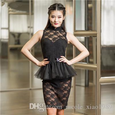 2017 nouvelle danse latine robe femmes sexy col en dentelle sans manches col Rumba Tango Sasa costumes de salle de bal Samba concurrence vêtements slim fente jupe