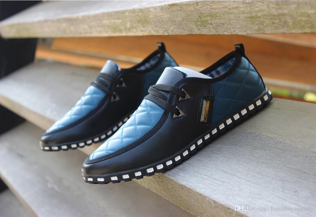 Automne nouveau mode cuir souple bleu hommes chaussures Flats respirant chaussures plates conduite hommes confortables chaussures plates Casual