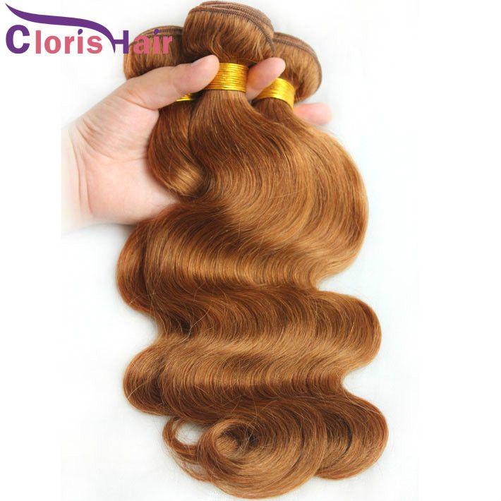 Grade 8A onda do corpo Mink Weave brasileiro Pacotes # 30 Medium Auburn extensões do cabelo Virgin Humano baratos Loiro Bresilienne ondulado Tecelagem Ofertas