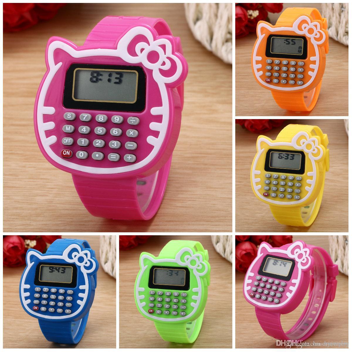 Relógios Para Crianças 2016 Novo Relogio Relógio Meninas Relógio Digital LED Relógio De Silicone Esportes data Multifuncional Crianças Relógios Calculadora Relógio de Pulso