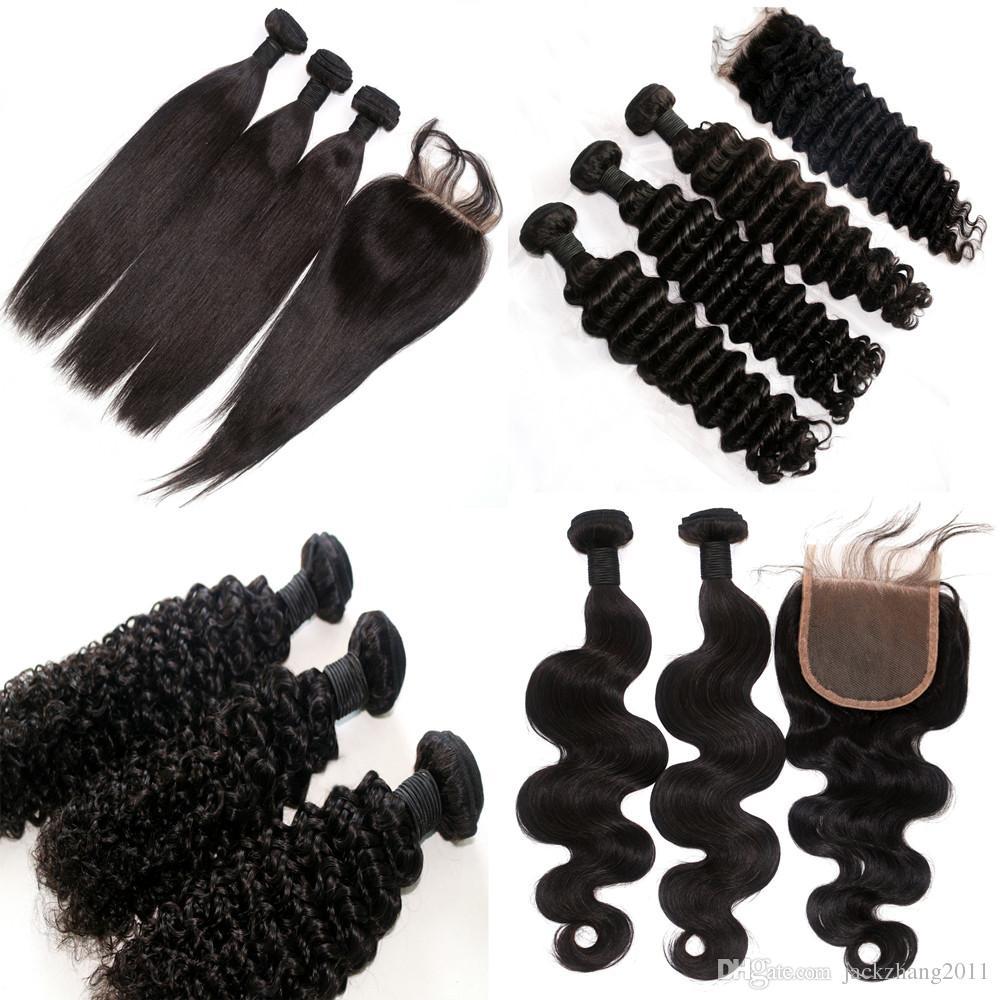 브라질 헤어 위브 구매 3pcs 헤어 하나 무료 레이스 클로저 처리되지 않은 말레이시아 페루 몽골어 인간의 머리카락 확장