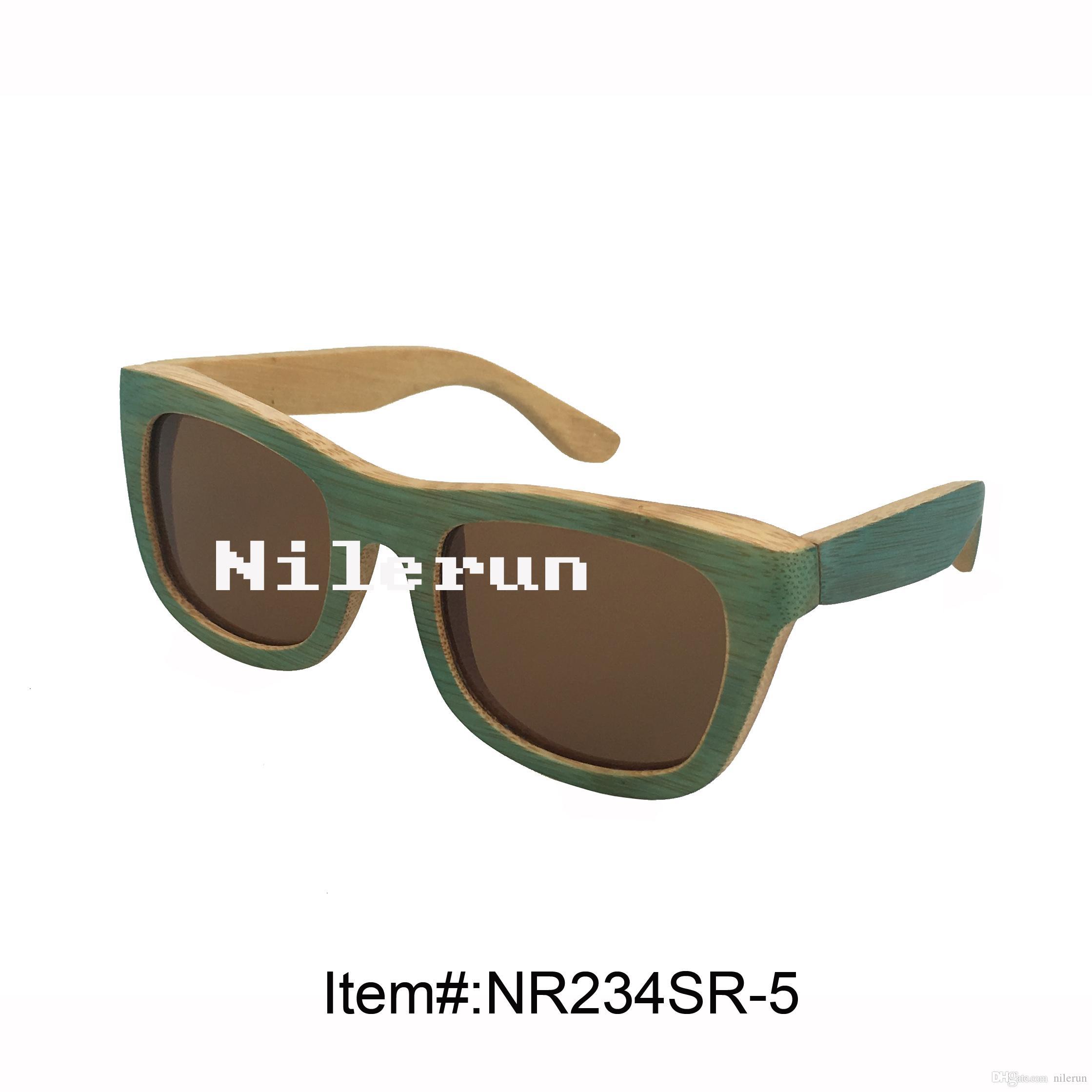 gafas de sol hechas a mano de bambú verde