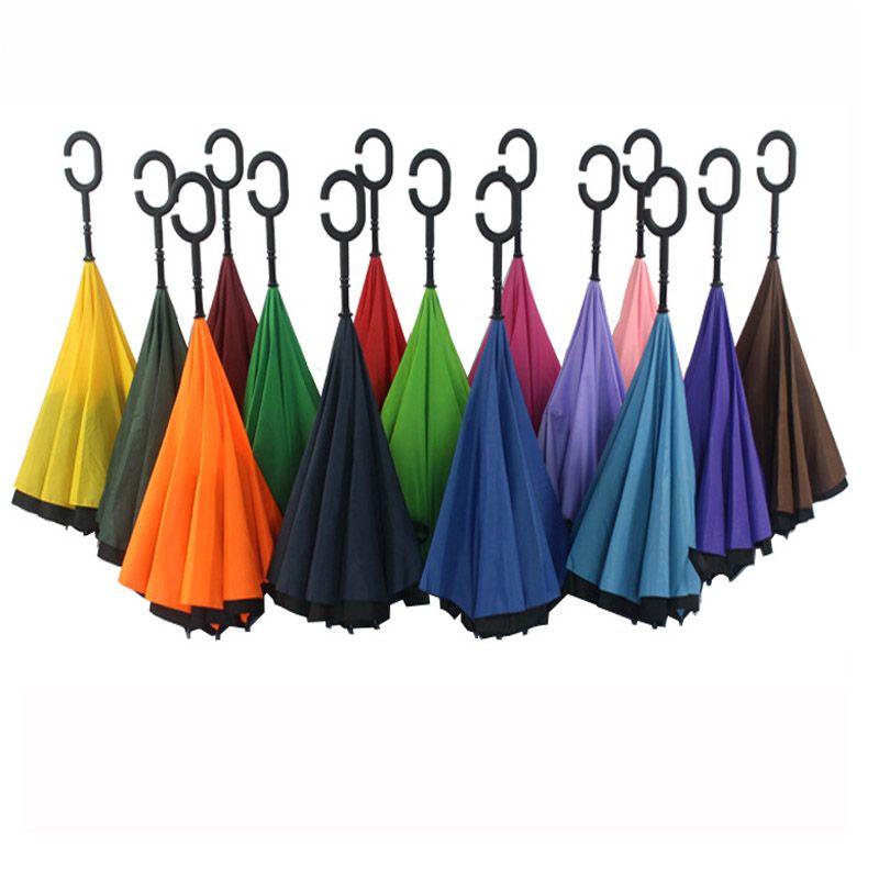 Parapluies Inversés Droite Avec C Poignée Création Double Couche À L'intérieur Extérieur Soleil Parapluie Coupe-Vent Voiture Parapluies Cadeaux PX-U01