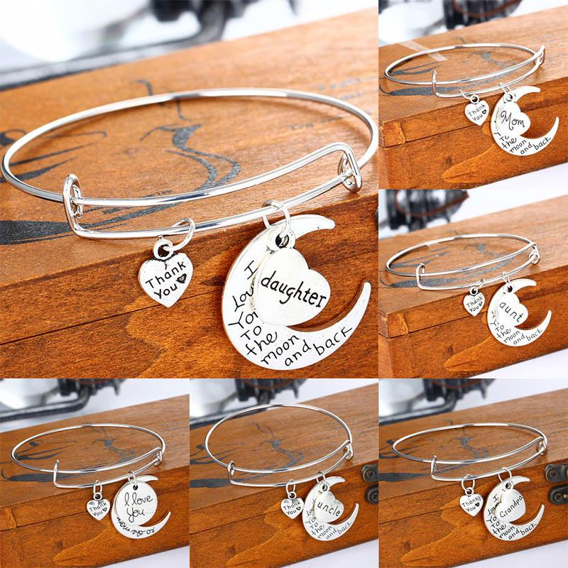 I Love you To the moon and Back Bracelets Letter Family Mom Aunt Daughter Son Sister I Love You Heart Charm Jewelry for Women Drop Shipping