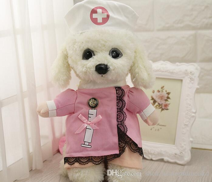 Grappige verpleegster pak huisdier kostuum hondenkleding huisdier kat jas partij kleding voor honden hete puppy verpleegster uniform + hoed kleding