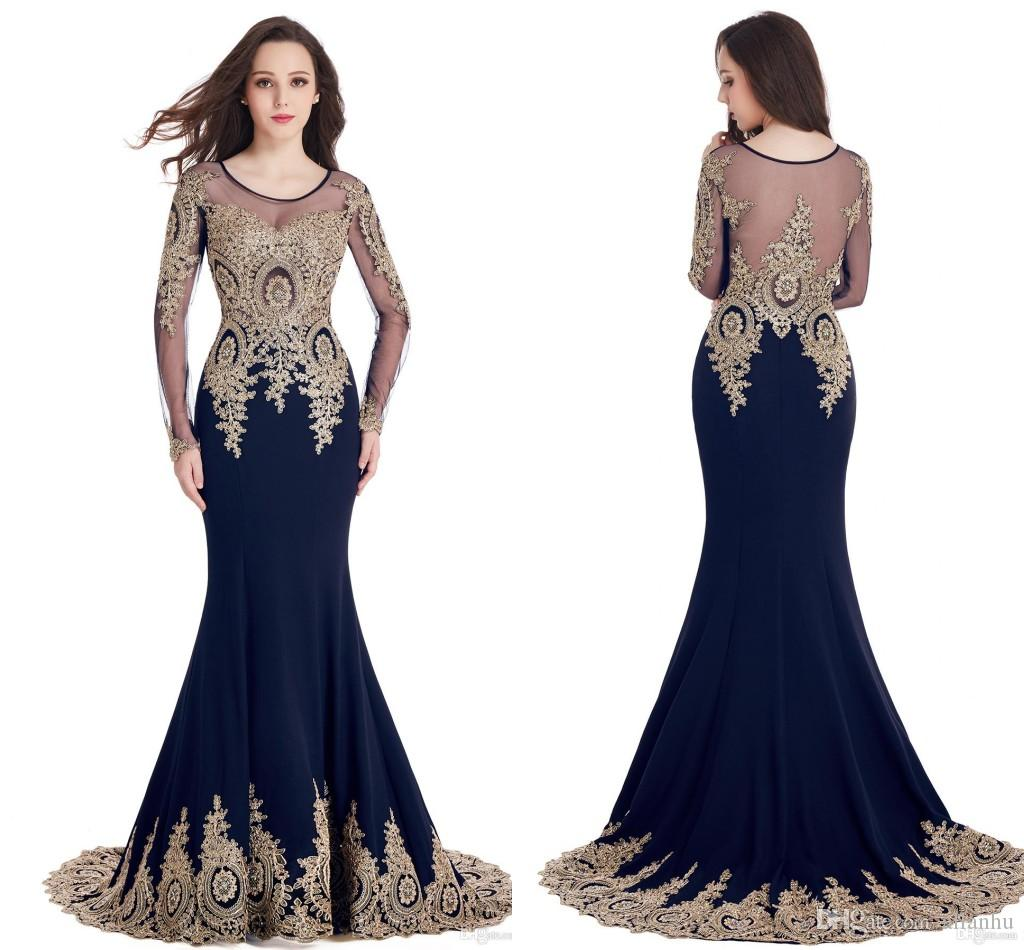 2017 Venta Caliente Barato En Stock Mermaid Vestidos de baile Scoop Sheer Neck Lace Apliques de Oro Robe de Soiree Evening Party Gown