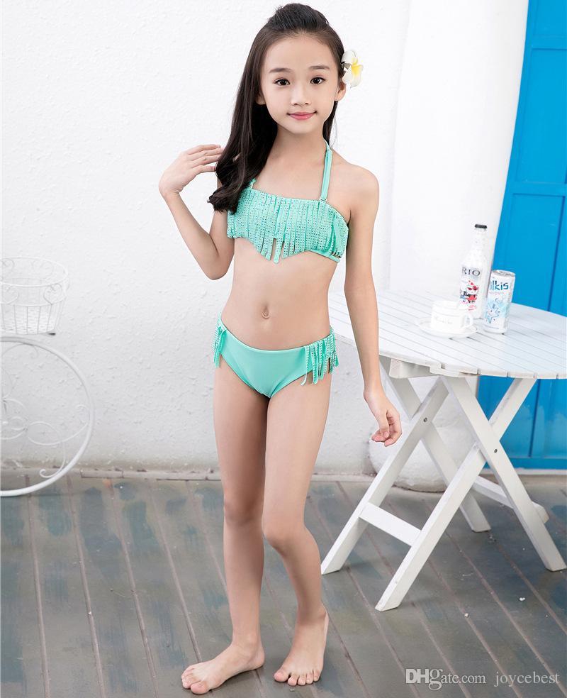 3d6210aa3f ... New Hot Kids Two-pieces Swimwear Baby Girls Colorful Diamond Beachwear  Tassel Bikini Swimsuit ...