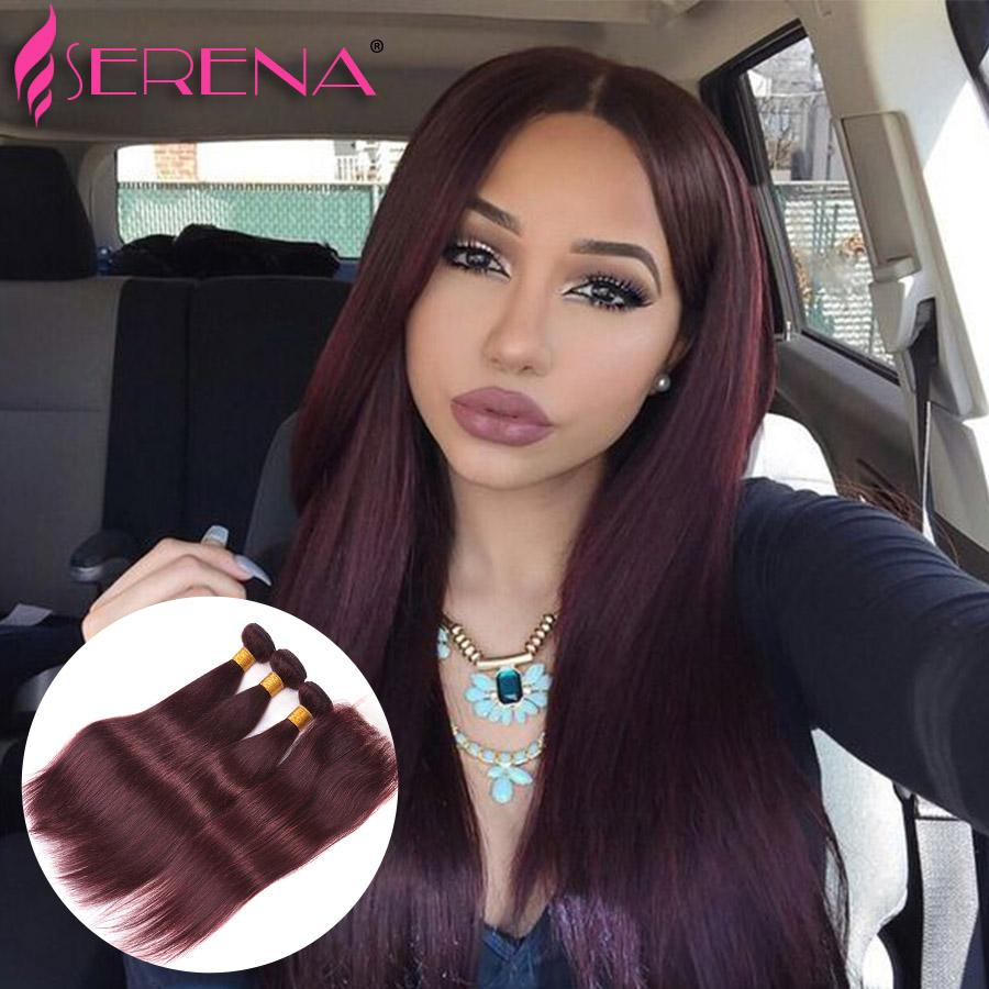 Hot Sale Unprocessed 99j Straight Brazilian Virgin Hair With Closure #99J Human Hair 3 Bundles With Lace Closure 4Pcs Lot Red Hair