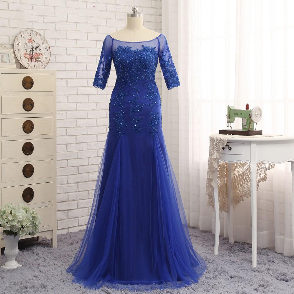 Abiti per la madre della sposa 2018 mezze maniche Royal Blue Scoop collo abiti da sera da sera Tulle Sheer lungo abito formale per la madre dello sposo