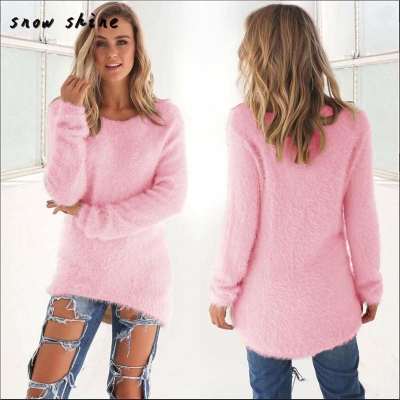 Оптовые женские повседневные сплошные с длинным рукавом свитера джемпера Блузка Бесплатная доставка