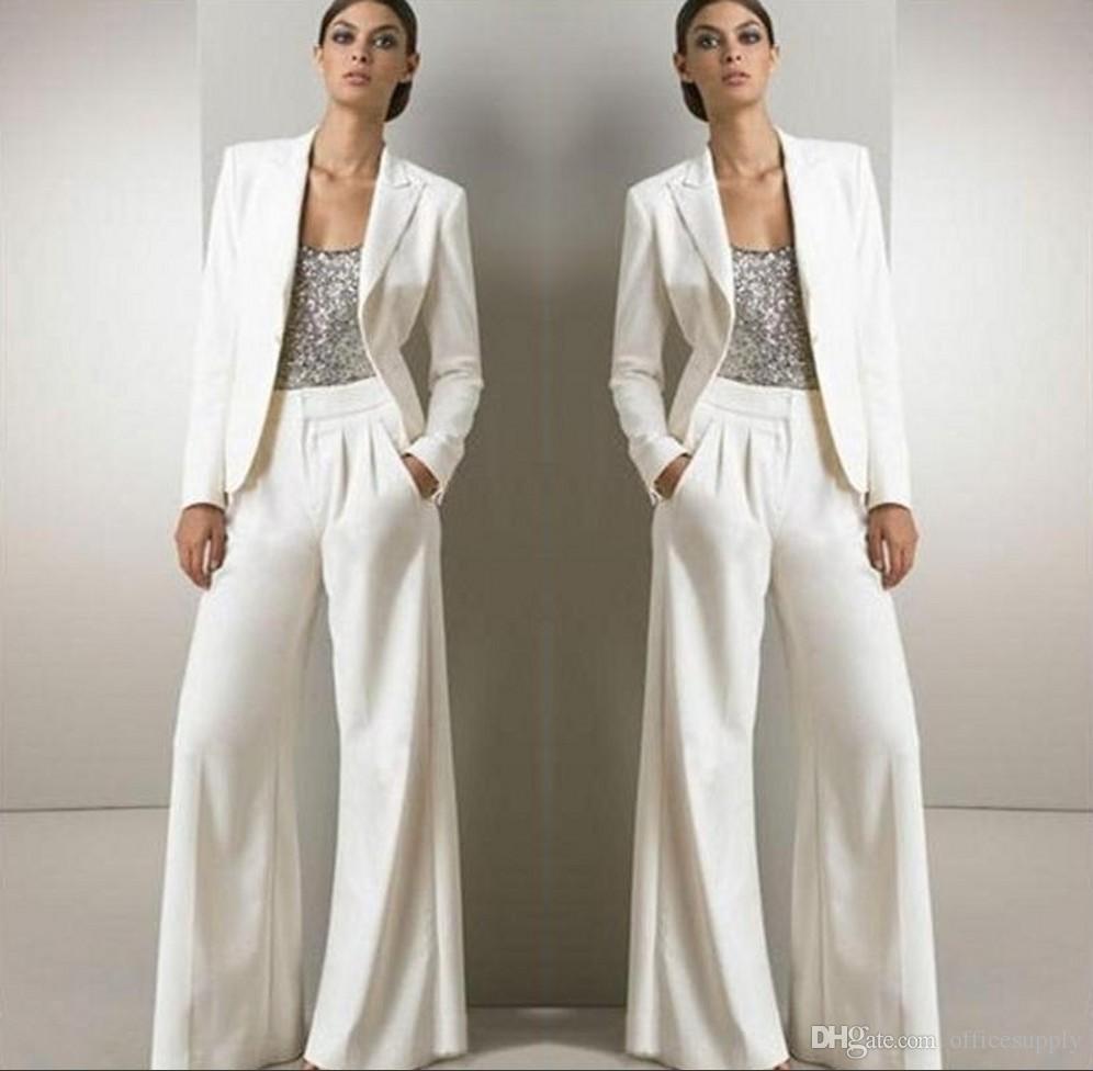2018 Weiß Drei Stücke Mutter Der Braut Hose Anzüge Für Silber Pailletten Hochzeitsgast Kleid Mit Jacken Plus Größe