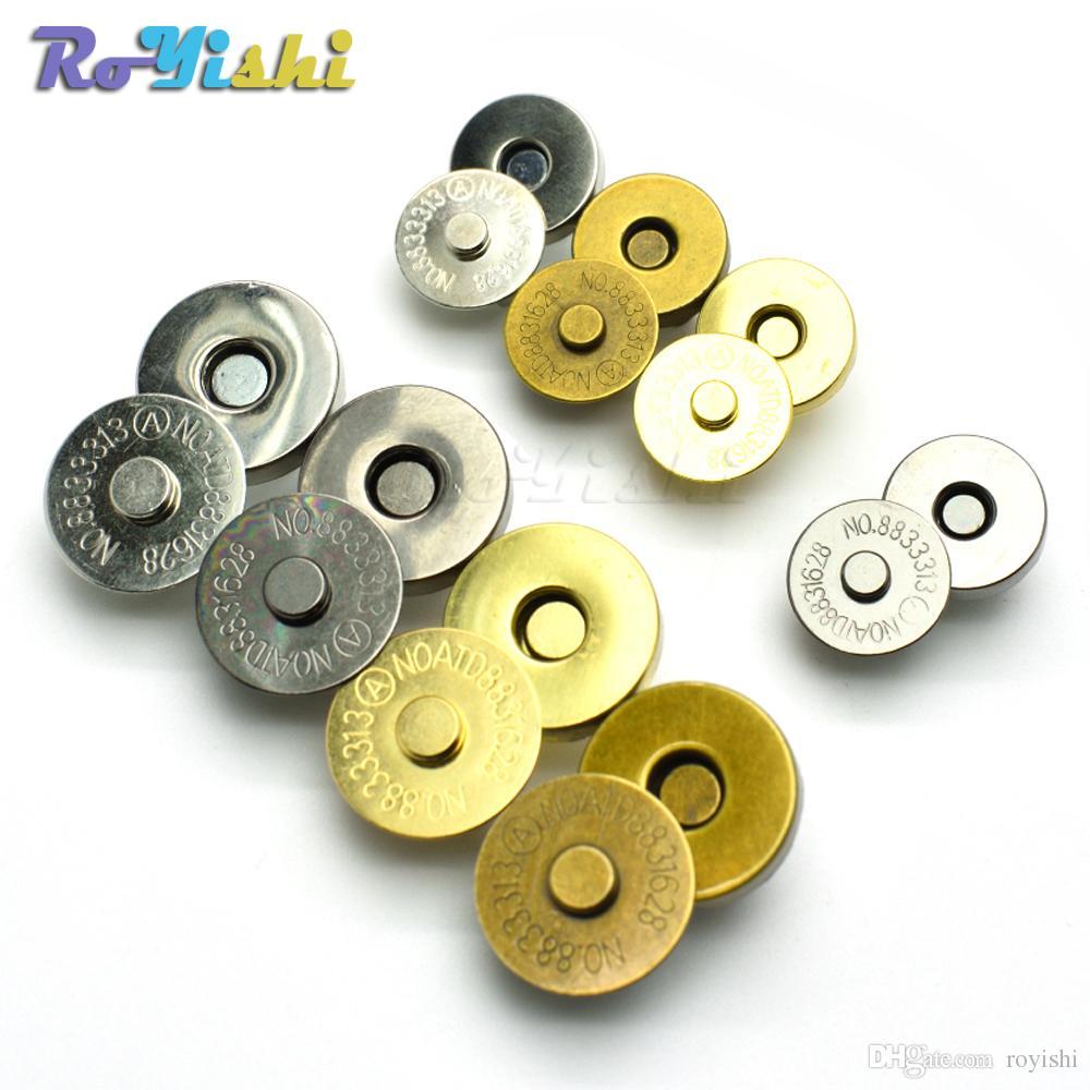 10 unids / lote magnético Snap Fasteners Cierres Botones Bolso Monedero Cartera Bolsas de Artesanía Accesorios Accesorios 14mm 18mm
