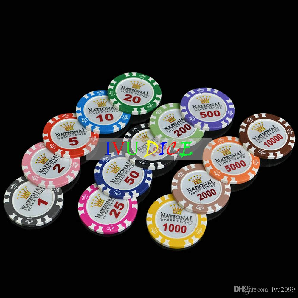 10pcs Professional Casino Chip Poker Chips 14g Clay Iron ABS Casino Chips Texas Hold'em Poker Monte Carlo Crown Poker Chips IVU