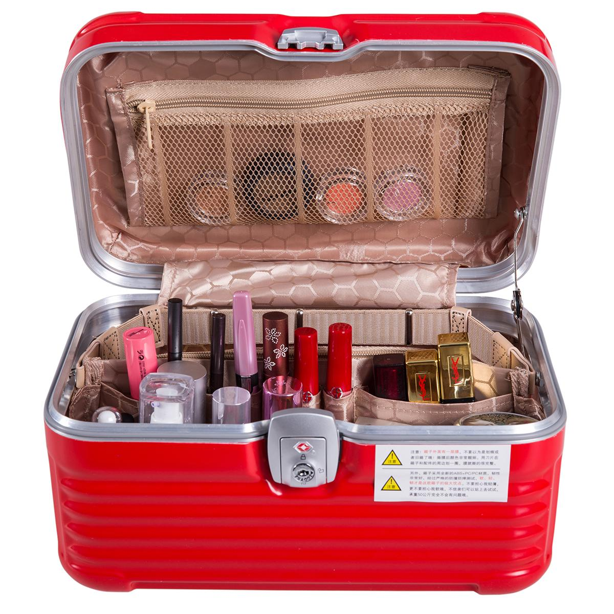 Women Large Capacity Professional Makeup Organizer Abs Aluminium Trunk Suit Cases Cosmetic Bag Hand -Held Storage Box Bolso Mujer