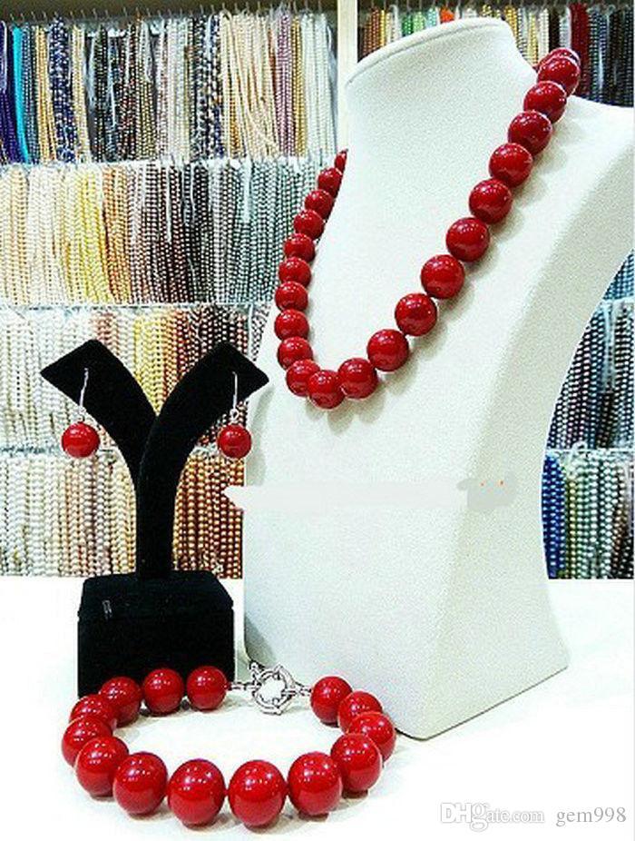 """Freies Verschiffen NEUE reale natürliche 14MM rote Shellperlen-Halskette 18 """"Armband 7.5"""" Ohrringe"""
