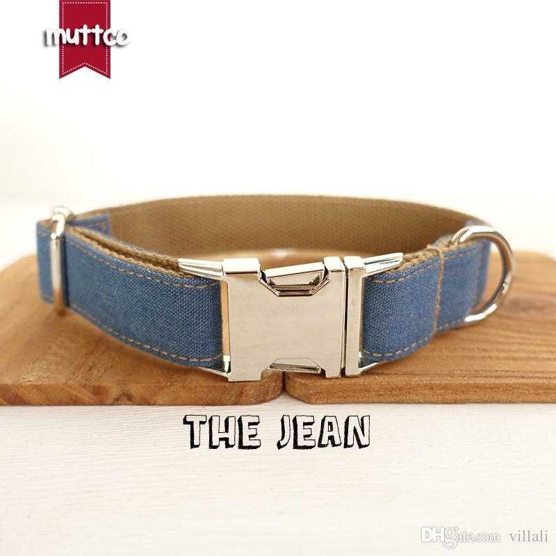 MUTTCO mode collier de chien fait à la main THE BLUE JEAN collier de chien 5 tailles UDC003