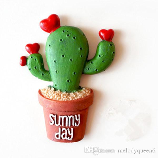 Free Shipping Hot New Succulent Cactus Fridge Magnet Plant Creative Resin Refridgerator lovely cactus three-dimensional magnetic stickers