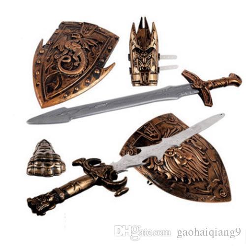 Großhandel neue Kinder Spielzeug Schwerter Shiled Pfeil und Bogen Schwert Schild Sucker Simulation Bogenschießen Kunststoff SwordsToy Set