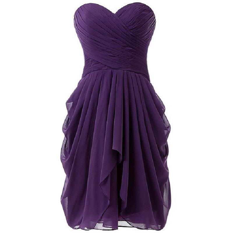 Vestidos de dama de honra curto roxo Chiffon Sweetheart Imagem real Plissados 2018 Venda quente Novos vestidos de festa de casamentos