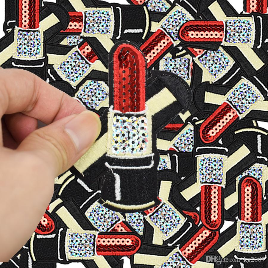 Diy Sequined Lipsticks patches for clothing iron embroidered patch applique iron on patches sewing accessories badge on clothes