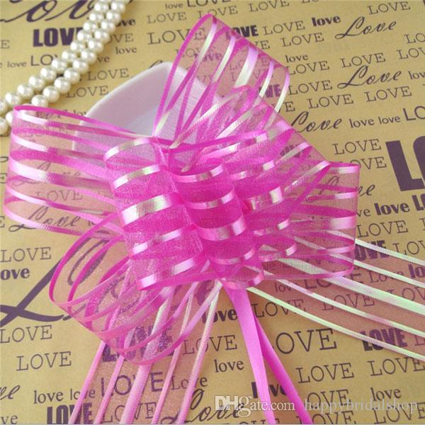 Venta caliente - 50pcs / lot 5 cm de gran tamaño de color fucsia Organza Pull arcos para la boda Decoración del coche Boda de organza Pull cintas de flores de regalo