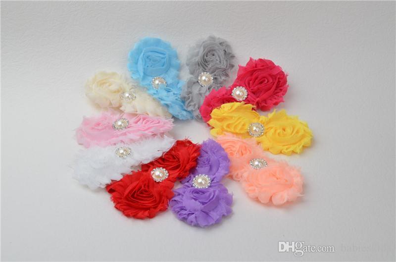 Çocuk Saç Aksesuarları Perişan Çiçekler Bebek Çocuk Bantlar şifon kumaş Çiçek İnciler Rhinestones Düğme Bebek Saç Aksesuarı Ücretsiz