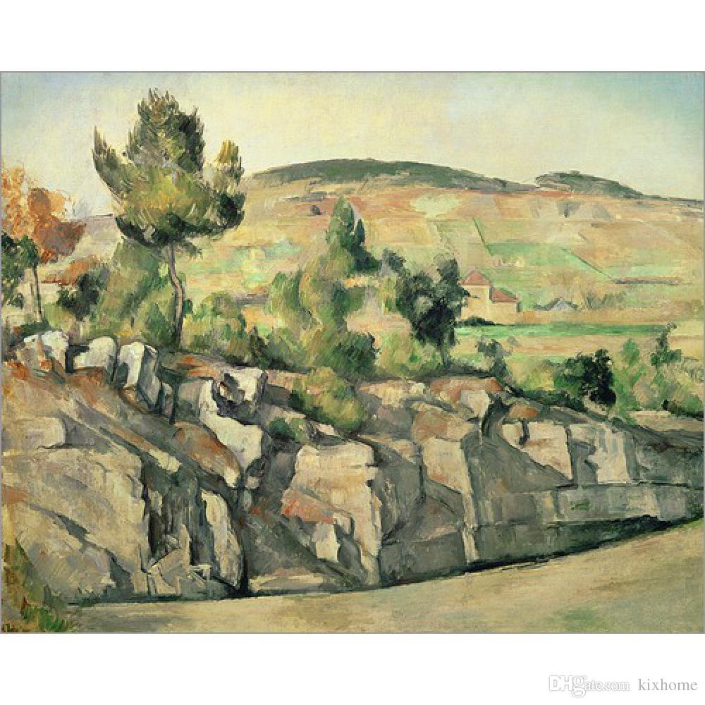Handmade Ölgemälde Paul Cezanne Hillside in der Provence moderne Kunst Landschaften für Schlafzimmer Dekor