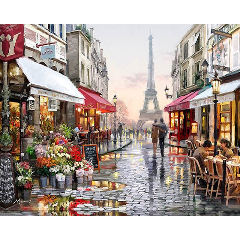 Frameless Paris Flower Street Landscape DIY Painting By Numbers Modern Wall Art Hand Painted Oil Painting For Home Decor 40x50cm