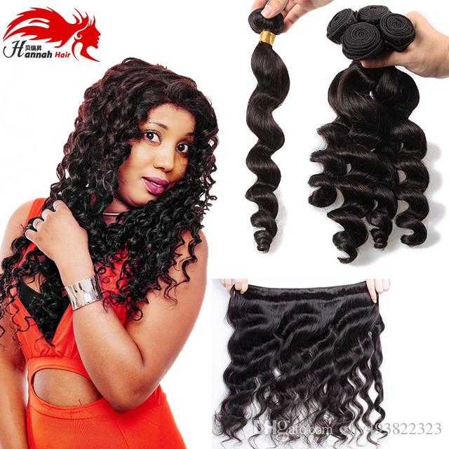 Hannah product Peruvian Loose Wave Unprocessed Virgin Hair 3Pcs Lot Peruvian Virgin Hair Loose Wave Hair Weaving Peruvian HairBundles