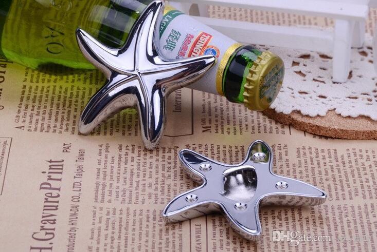 LIVRAISON GRATUITE par DHL, FEDEX, UPS (50pcs / lot) + finition argent Starfish Design ouvre-bouteille Beach Wedding Favors Party Giveaway