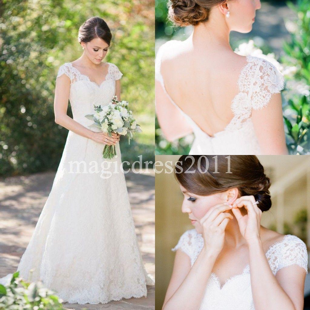 Modest 2019 Elfenbein Volle Spitze Brautkleider A-Linie V-Ausschnitt Open Back Sweep Zug Country Garden Vintage Brautkleider für Braut Plus Size