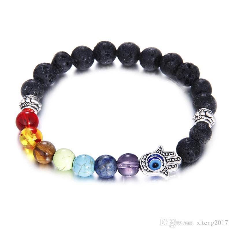 En gros Naturel Noir Pierre De Lave Perles Bracelets Pour Les Femmes 7 Reiki Chakras Perlé Yoga Balance Bracelet Avec Main Charm Bijoux À La Main