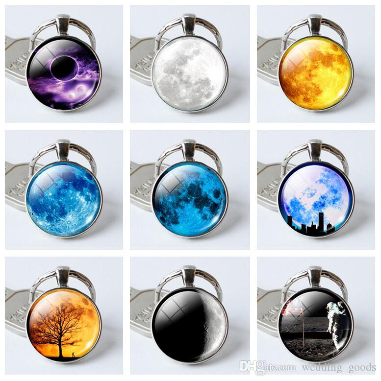 High quality Earth full moon gem creative glass key chain pendant KR394 Keychains mix order 20 pieces a lot