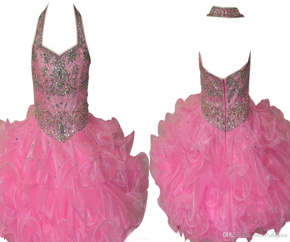 Wholesale 2017 Baby Pink Girls Pageant Cupcake Dresses Infant Special Occasion Skirts Toddler Tutu Prom Party Dress Kids Pageant Gown