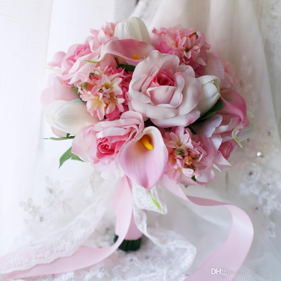 Romantic Pink Bride Holding Brooch Bouquet 2017 Hyacinth Tulip Calla ...