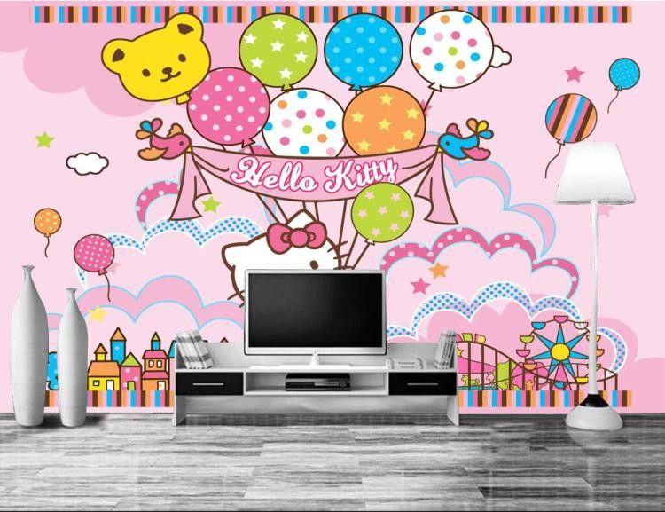 3d Large Frescoes Pink Kitty Hello Kitty Cartoon Wallpaper Wallpaper Mural Princess Bedroom Bedroom Wall Wallpaper Wallpaper Hd Wallpaper Hd Wallpaper