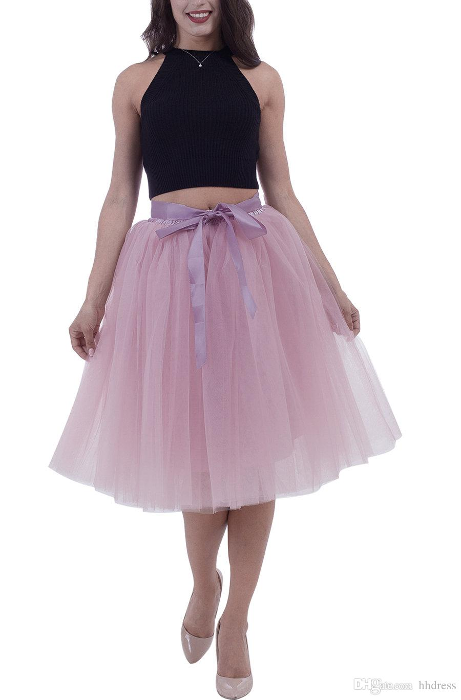 61bec46a6 Dust Pink 7 Layered Midi Tulle Skirt Rainbow tutu petticoats for women  evening party formal Dress Knee length with Bowknot