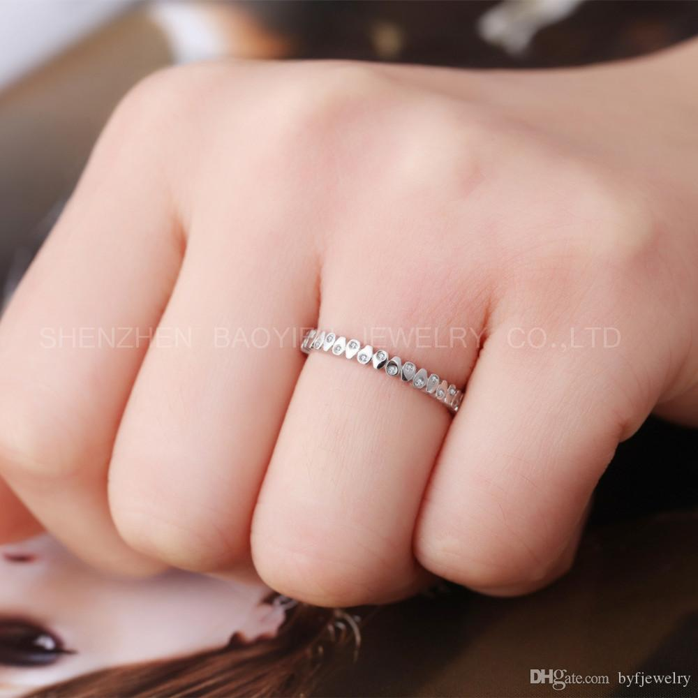 2018 Luxury 18k Solid White Gold Real Diamond Ring Gold Engagement ...